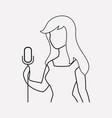 singer woman icon line element vector image