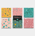 six seamless terrazzo patterns hand crafted vector image vector image