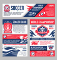 soccer match banner with football sport club badge vector image vector image