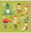 summer camp kids set enjoying nature playing and vector image vector image
