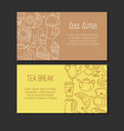 Tea design banners with line icons vector image
