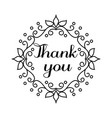 thank you lettering in hand draw frame vector image vector image