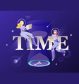 time word and astronauts in spacesuits vector image