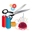Tools and materials for sewing vector image