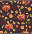 turkey and harves seamless pattern vector image vector image