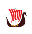 viking boat flat on white vector image
