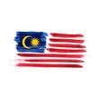 watercolor imitation brushed flag malaysia vector image vector image