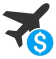 Airplane Price Flat Icon vector image