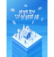 image of the blue wooden christmas house vector image