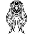a day dead girl with head animal skull vector image