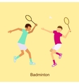 Badminton Players in Match Competition vector image