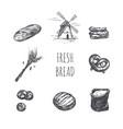 bakery shop set windmill bag flour ears vector image vector image