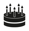 black and white birthday cake 5 candles silhouette vector image vector image