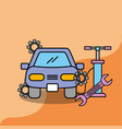car service maintenance repair pump and spanner vector image vector image