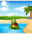 cartoon turtle on the beach vector image vector image