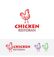 chicken logo design vector image vector image