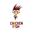 chicken with fish eyes concept fast food vector image