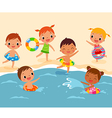 children at beach vector image