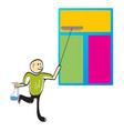 cleaner cleaning a window vector image