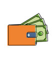 color wallet with bills cash money guarded vector image vector image