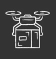 delivery drone chalk icon quadcopter transporting vector image vector image