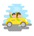 fast taxi with happy people vector image vector image
