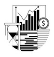financial analyze growth linear icon vector image vector image