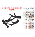 firewood icon with bonus energy set vector image