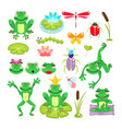 frogs cartoon green clip-art set vector image