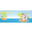 fun santa claus cartoon on island with surf banner vector image vector image