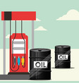 gas station and barrels transport oil industry vector image
