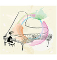 Girl playing piano sketch vector image vector image