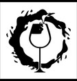 glass splashing with bubble wine icon vector image