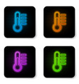 glowing neon thermometer icon isolated on white vector image vector image
