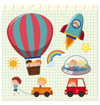 happy children and different transportations vector image vector image