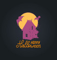 happy halloween lettering with dark house vector image vector image