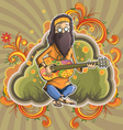 Hippie with guitar in nirvana vector image vector image