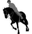 horse ridingequestrian sport silhouettexa vector image vector image