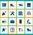 industry icons set collection of tractor builder vector image vector image