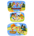 kids summer camping cartoon of vector image