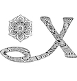 letter x decorated in style mehndi vector image