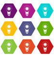 light bulb with sun inside icon set color vector image vector image