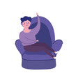 man resting in chair isolated icon on white vector image vector image