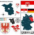 Map of Brandenburg vector image vector image