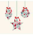 Merry Christmas hanging baubles elements vector image vector image
