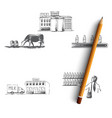 milk production - cow in field factory vector image
