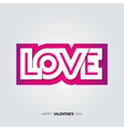 Paper inscription love cut from pink backdrop vector image