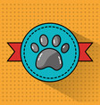 pet paw print banner emblem animal vector image