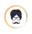 portrait of hindu man in glasses and national vector image