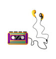 retro audio music cassette tape player and ear vector image